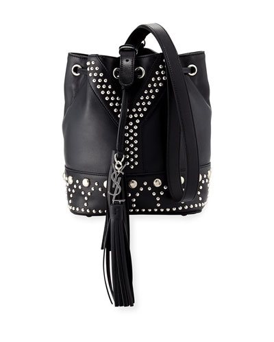 Small Y Studded Bucket Bag, Black