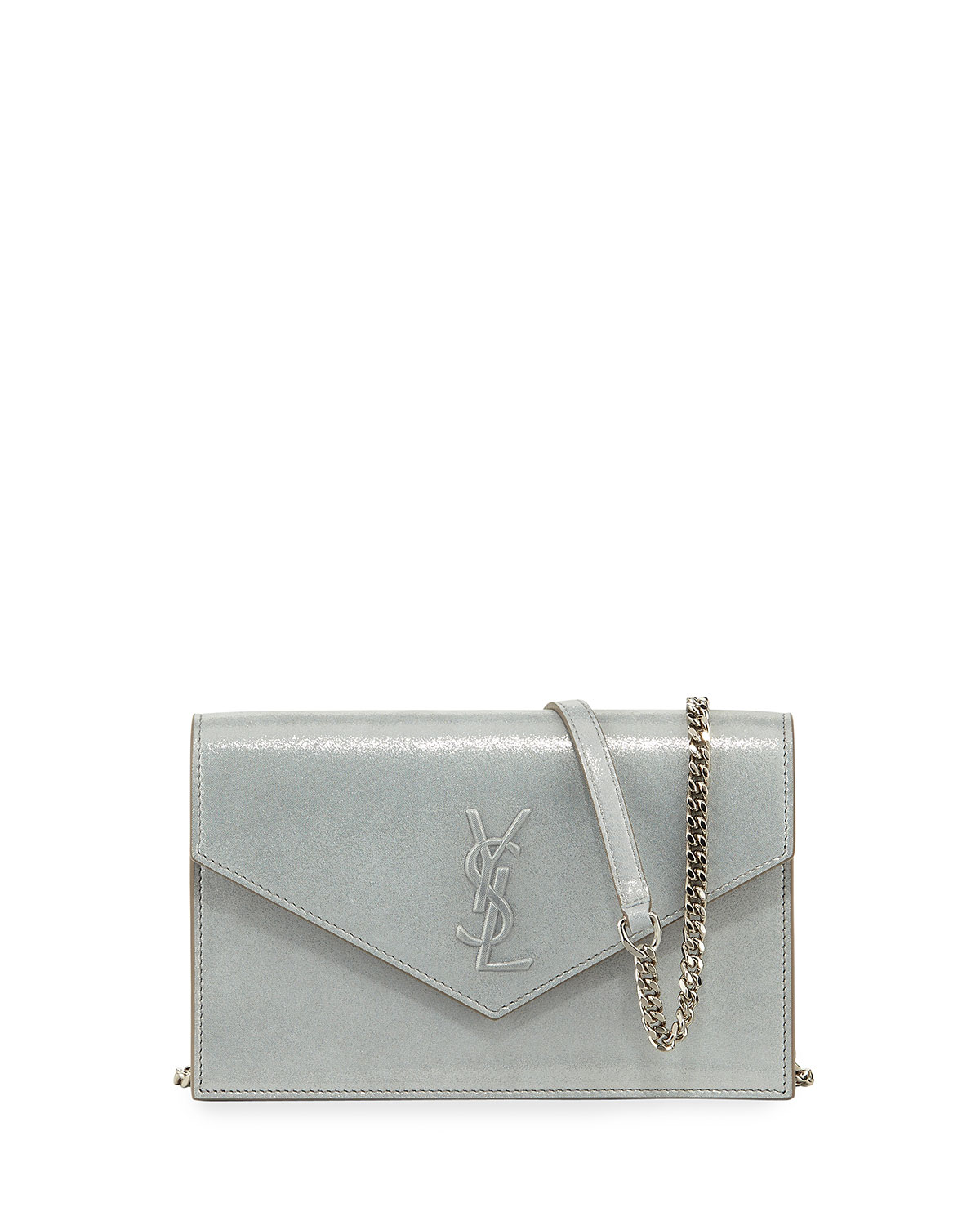 Monogram Shimmery Suede Envelope Chain Wallet, Silver