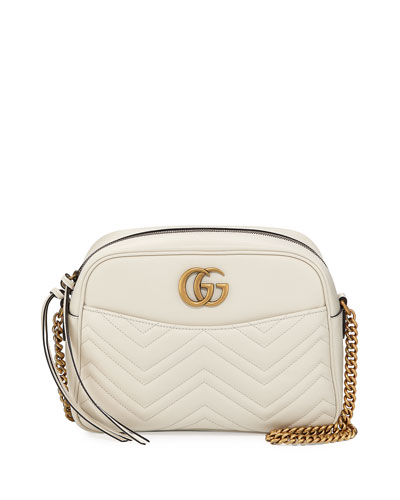 GG Marmont 2.0 Medium Quilted Camera Bag, White