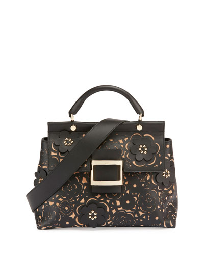 Viv Cabas Small Floral Top-Handle Satchel Bag, Black