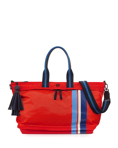 Nylon East-West Zip Gym Satchel Bag, Red