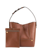 Faux-Leather Bucket Bag, Brown