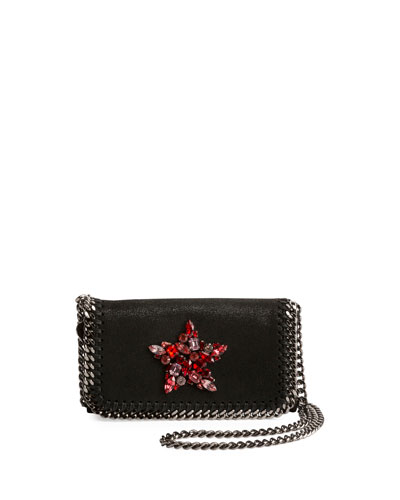 Falabella Crystal-Star Crossbody Clutch Bag, Black