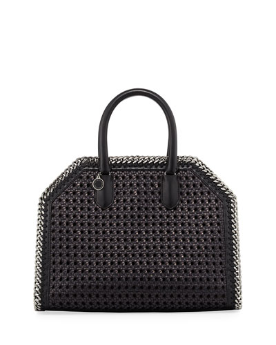 Falabella Medium Wicker Tote Bag, Black