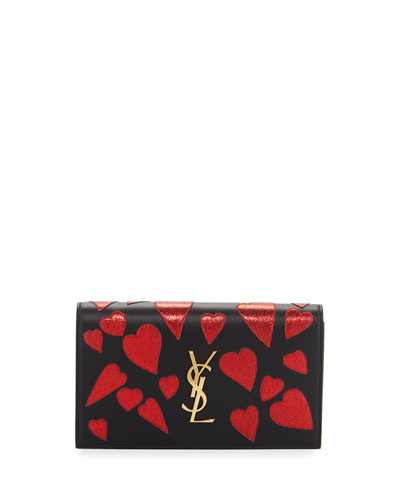 Kate Monogram Heart-Patch Clutch Bag, Black/Red