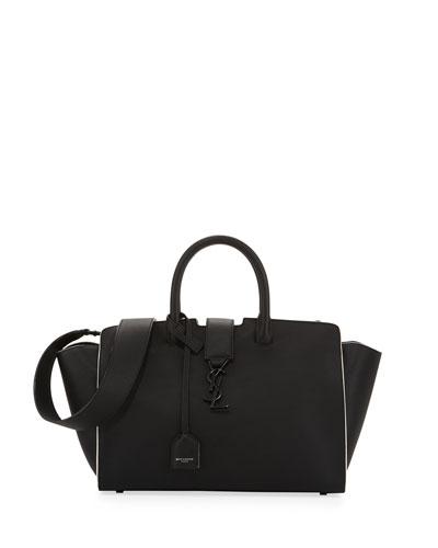 Downtown Cabas Small Satchel Bag, Black/White