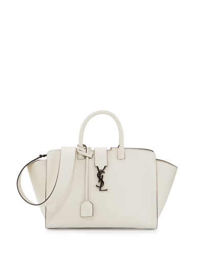 Downtown Cabas Small Satchel Bag, White/Black