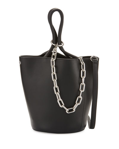 Roxy Large Leather Tote Bag, Black
