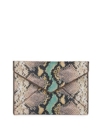 Leo Python-Embossed Envelope Clutch Bag
