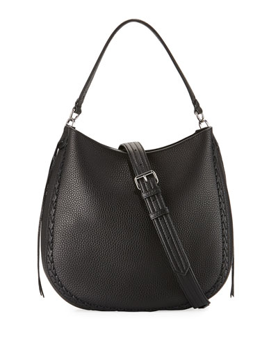 Convertible Pebbled Hobo Bag, Black