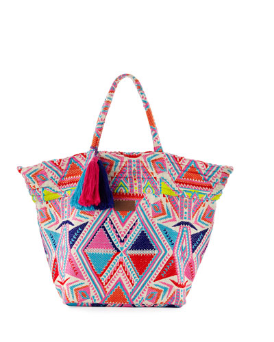 Carried Away Embroidered Beach Tote Bag, Multicolor