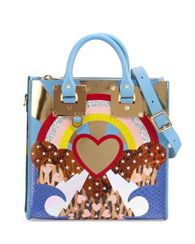 Albion Square Heart Python Tote Bag, Blue