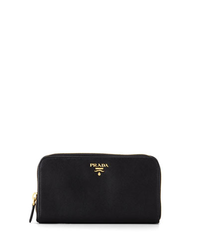 Saffiano Zip-Around Wallet, Black (Nero)