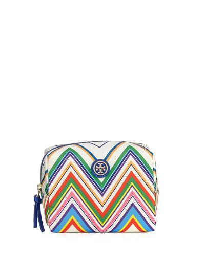 Brigitte Chevron Nylon Cosmetics Bag