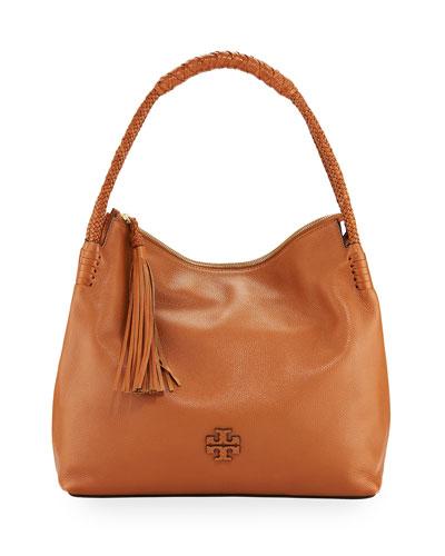 Taylor Pebbled Leather Zip-Top Hobo Bag