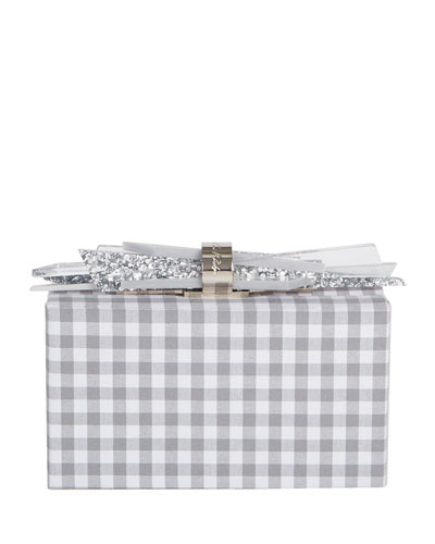 Wolf Shard Lock Gingham Clutch Bag, Gray