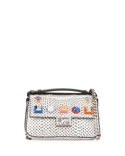 Baguette Micro Double-Sided Studded Snakeskin & Leather Bag, Black/White