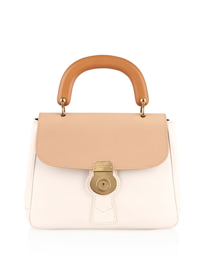 Colorblock Leather Top-Handle Satchel Bag, Ivory