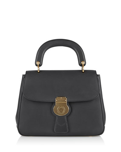 Leather Top-Handle Satchel Bag, Black