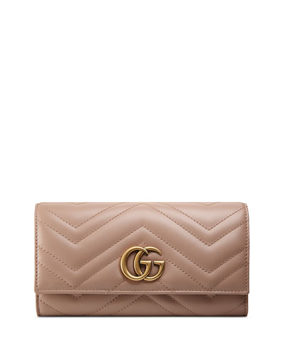 GG Marmont Medium Quilted Flap Wallet, Beige