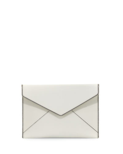 Leo Saffiano Envelope Clutch Bag, White