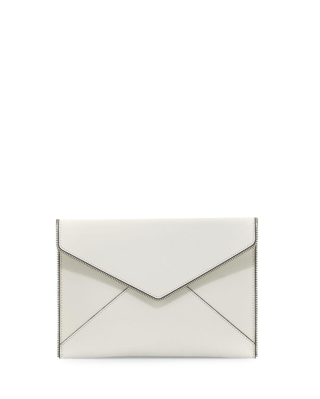 Leo Saffiano Envelope Clutch Bag, White
