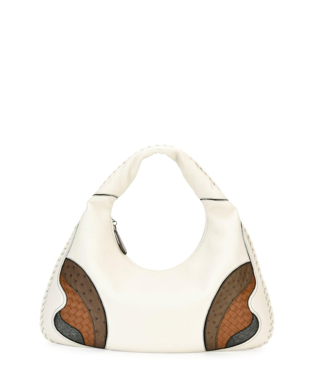 Veneta Patchwork Large Hobo Bag, White/Brown