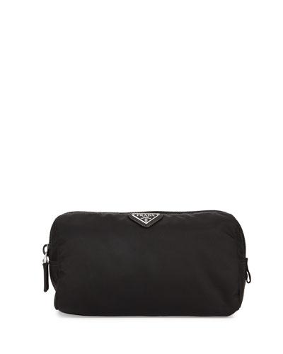 Medium Nylon Triangle Cosmetic Bag, Black (Nero)