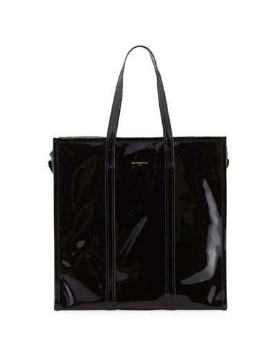 Bazar Medium Patent Shopper Tote Bag, Black