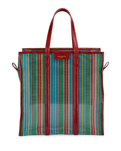 Bazar Medium AJ Mesh Striped Shopper Tote Bag