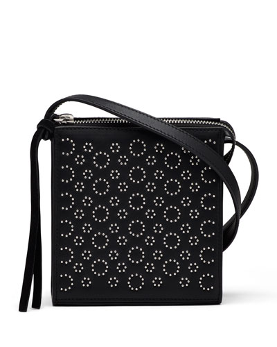 Sara Small Studded Crossbody Bag, Black