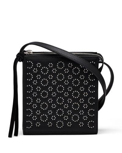 Sara Small Studded Crossbody Bag, Black
