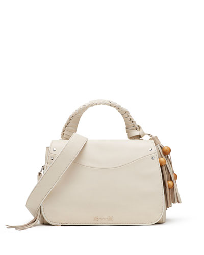 Trapeze Small Studded Tassel Satchel Bag, Beige