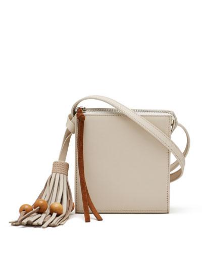 Sara Small Tassel Crossbody Bag, Beige