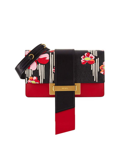 Printed Madras Metal Ribbon Shoulder Bag, Black/Fire (Nero+Fuoco)