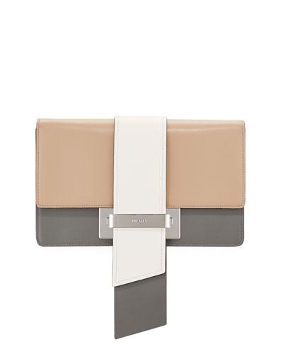 City Calf Flap Shoulder Bag, White/Black/Marble (Bianco+Nero+Marmo)