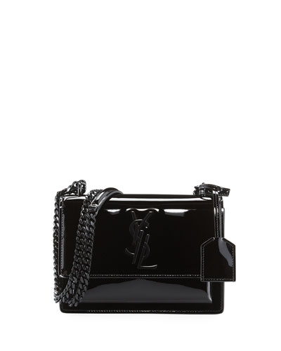 Sunset Small Patent Chain Shoulder Bag, Black
