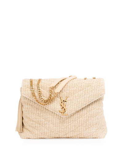 Medium Soft Raffia Chain Shoulder Bag, Light Beige