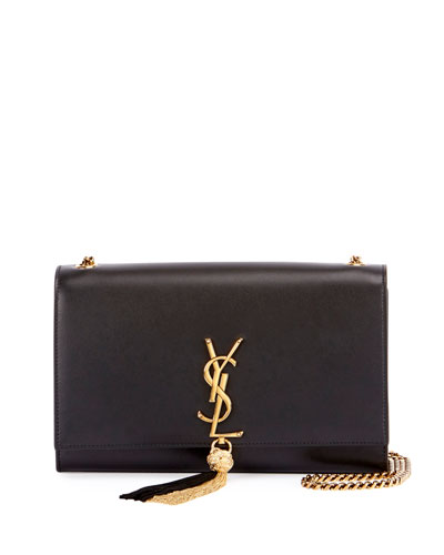 Kate Monogram Medium Leather Tassel Shoulder Bag, Black