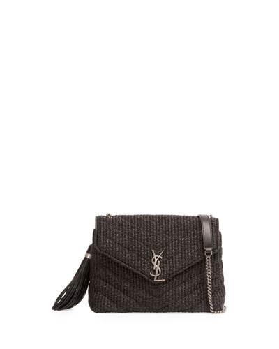 Small Raffia Chain Shoulder Bag, Black