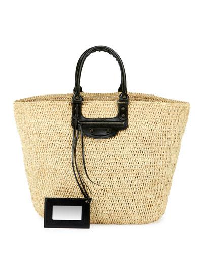 Panier Large Leather & Raffia Tote Bag