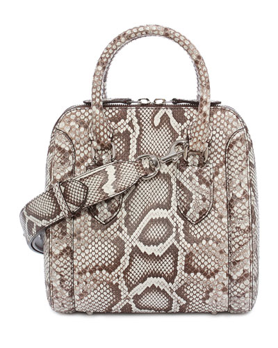 Heroine Small Python Satchel Bag, White
