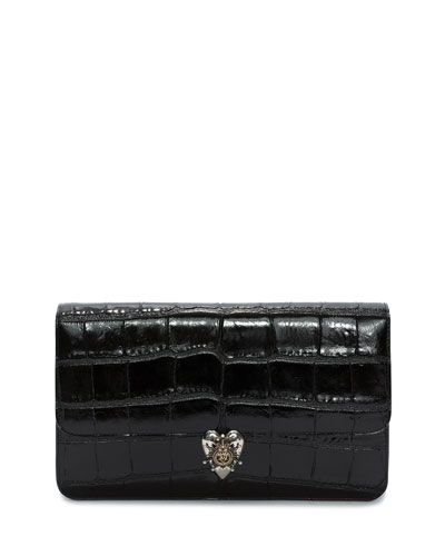 Heart Envelope Clutch Bag, Black