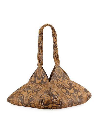 Pyramid Python-Print Shoulder Bag, Beige