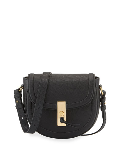 Ghianda Mini Woven Suede Saddle Bag, Black