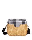 Edie Parker Jane Gingham Straw Basket Crossbody Bag,