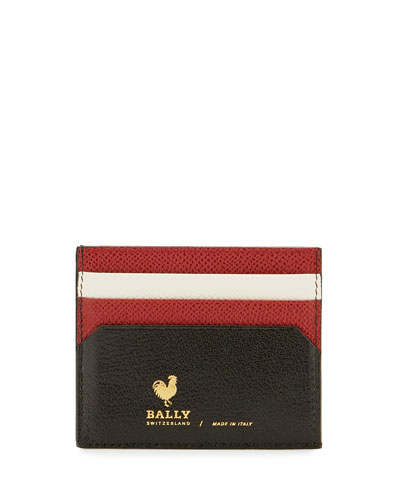 Nalbyn Colorblock Leather Card Case, Black
