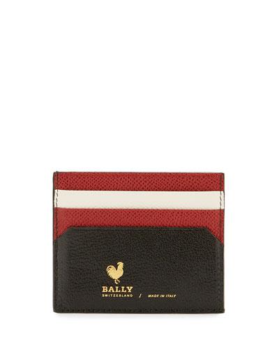 Nalbyn Colorblock Leather Card Case, Black