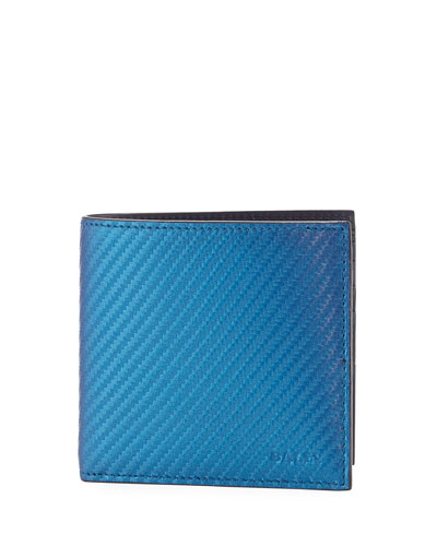 Iridescent Leather Bi-Fold Wallet, Blue