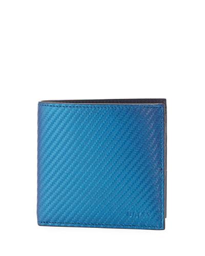 Iridescent Leather Bi-Fold Wallet, Blue